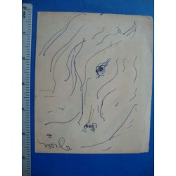 Cuban Art: Hector Molne small drawing,abstract orginal,No.2