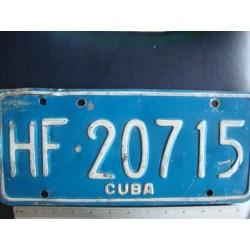 Cuba,License Plate,1980s HF 20715 blue - ORGINAL