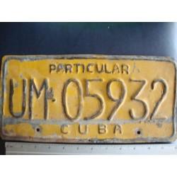 Cuba,License Plate,1970s UM 05932 yellow Particular - ORGINAL