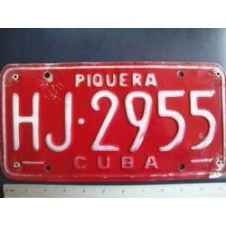 Cuba,License Plate,1980s red Piquera HJ 2955  - ORGINAL