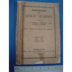 Colegio de San Ildefonso,Santiago de Cuba  1894 Prospecto Reglamento