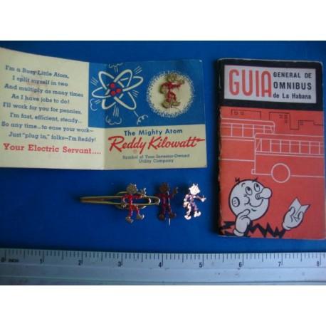 Cuban Electric Company Kilowatt ,3 Pins + tie clip + Omnibus Guide,schedule  Havana Cuba