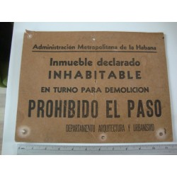 Plate,Warning Sign Habana,Cuba