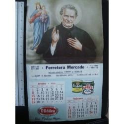 Glidden colour  religious Calendar 1956,santiago de cuba