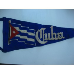 Cuban Flag pennant,1950s Made in Cuba,Label