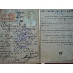 Taxi CHAUFFER'S LICENSE Camaguey,Cuba 1928