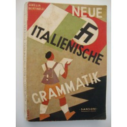 New Italian grammar, beautiful cover with the 2 national emblems,1937