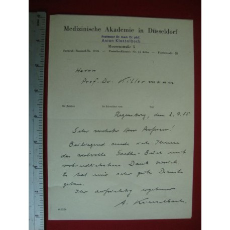 Dr.Anton Kiesselbach signed letter 1955,was a doctor in the concentration camp Natzweiler