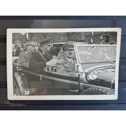 2 Photo Postcards,der Fuhrer in Car with Leibstandarte SS body guard