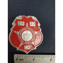 Police Badge,cuba PNR Policía Nacional Revolucionaria,red ,Havana 1970s