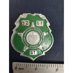 Police Badge,cuba PNR Policía Nacional Revolucionaria,green ,Santiago de Cuba,1970s