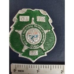 Police Badge,cuba PNR Policía Nacional Revolucionaria,green ,Cienfuegos 1970s