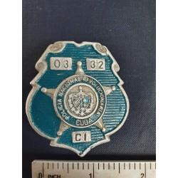 Police Badge,cuba PNR Policía Nacional Revolucionaria,blue green ,Cienfuegos 1970s