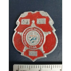 Police Badge,cuba PNR Policía Nacional Revolucionaria,red,Ciego de Ávila 1970s