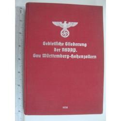 "REGIONAL CLASSIFICATION OF THE NSDAP, ""Gau Wurttemberg Hohenzollern 1939,very rare"